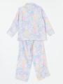 背面画像 - ラベンダーマルチフラワー柄パジャマ