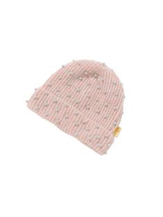 ベビーピンク色のキッズニットキャップです。
