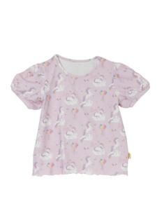 ラベンダーモノケロス柄のパフスリーブTシャツです。