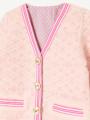 アップ画像 - ピンク色キッズカーディガン