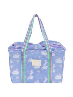 ブルーモノケロス柄のレジカゴバッグです。