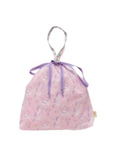 ラベンダーモノケロス柄の巾着バッグです。