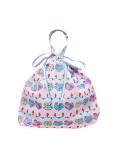 ピンクケーキ柄の巾着バッグです。