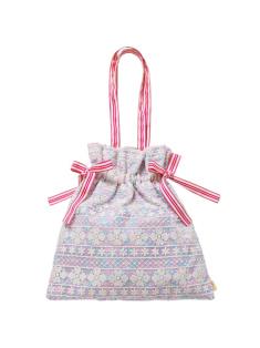 ラベンダーパステルフラワー柄の巾着バッグです。