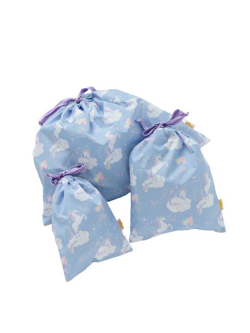 ブルーモノケロス柄の巾着セットです。